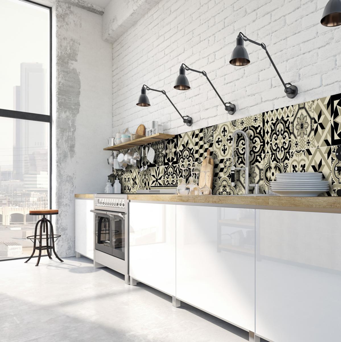 cr dence adh sive carreaux de ciment l on noir d. Black Bedroom Furniture Sets. Home Design Ideas