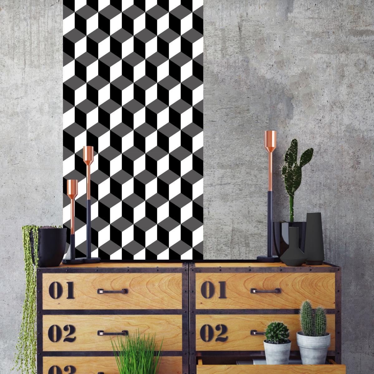 papier peint carreaux de ciment eug nie noir l. Black Bedroom Furniture Sets. Home Design Ideas