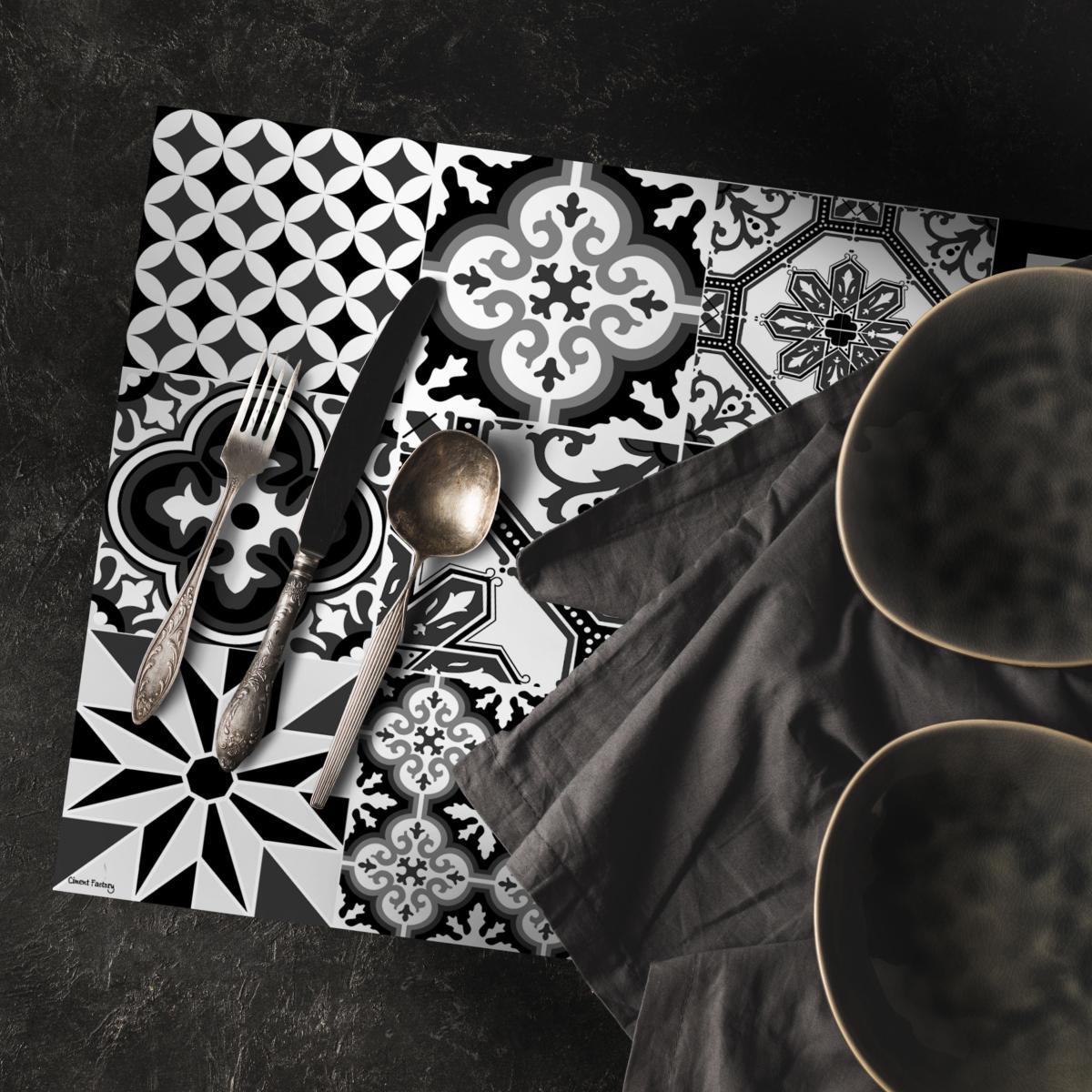 Set De Table Carreaux De Ciment Ginette Noir 35x50cm