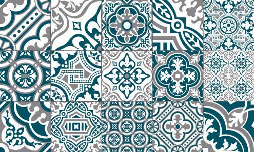 tapis vinyle carreaux de ciment madeleine bleu canard. Black Bedroom Furniture Sets. Home Design Ideas