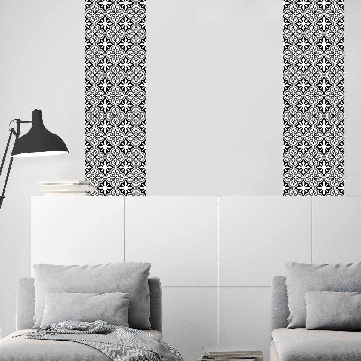 papier peint carreaux de ciment simone noir l. Black Bedroom Furniture Sets. Home Design Ideas