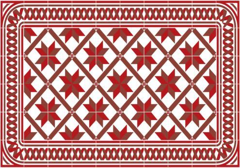Set de table carreaux de ciment marguerite rouge for Set de table imitation carreaux de ciment