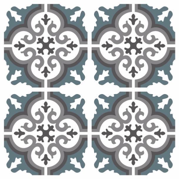 sticker carreaux de ciment simone bleu gris. Black Bedroom Furniture Sets. Home Design Ideas