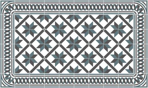 Tapis vinyle carreaux de ciment marguerite bleu gris for Tapis vinyl carreaux ciment