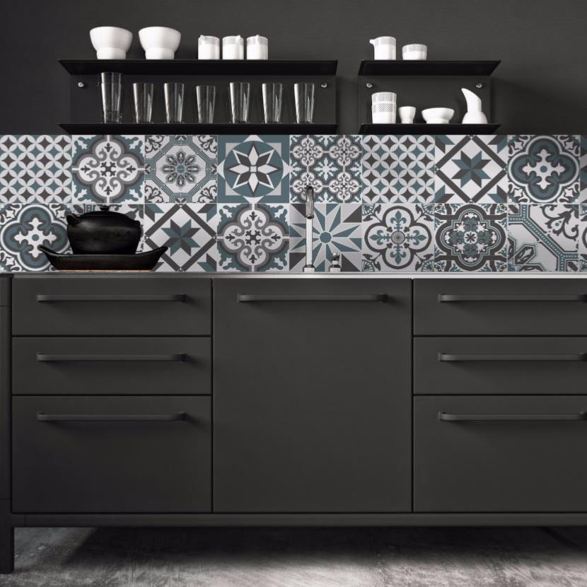 cr dence adh sive carreaux de ciment ginette bleu gris. Black Bedroom Furniture Sets. Home Design Ideas