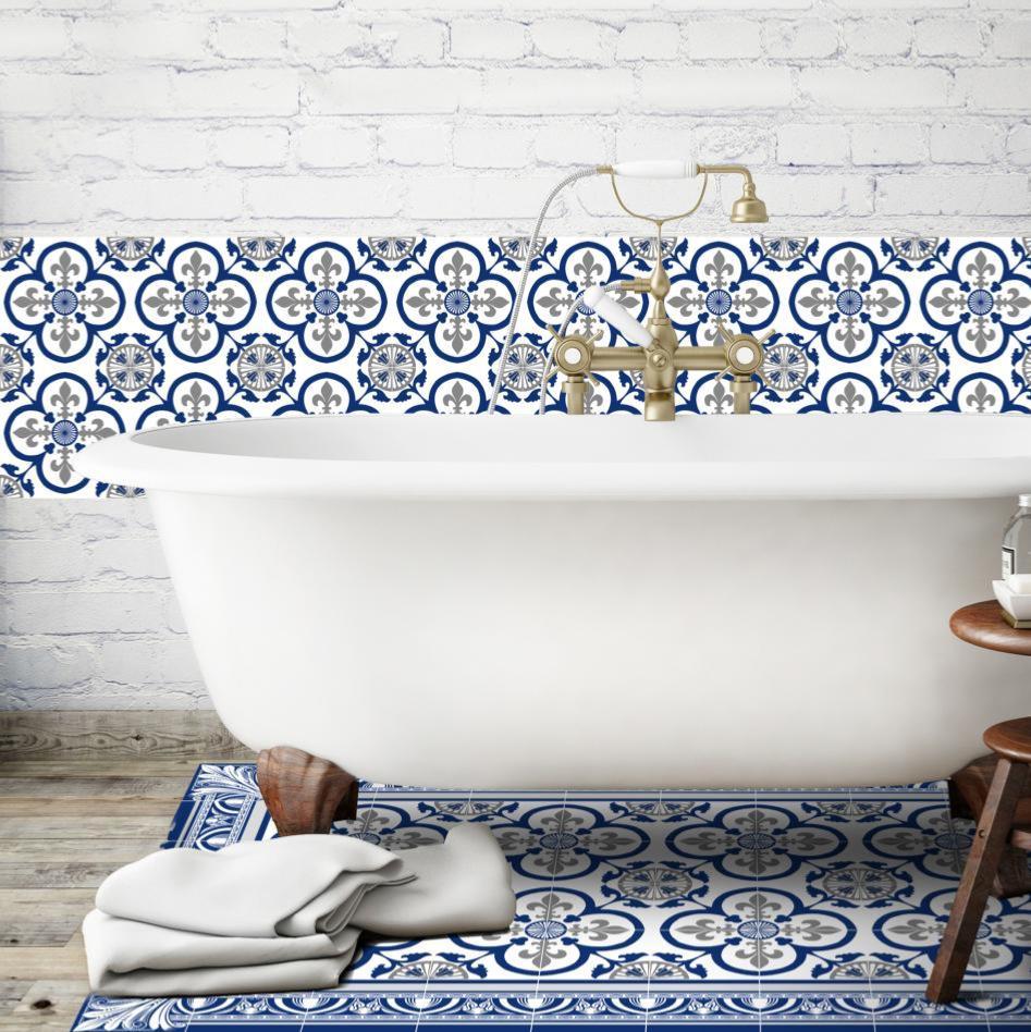 cr dence adh sive carreaux de ciment garance bleu. Black Bedroom Furniture Sets. Home Design Ideas