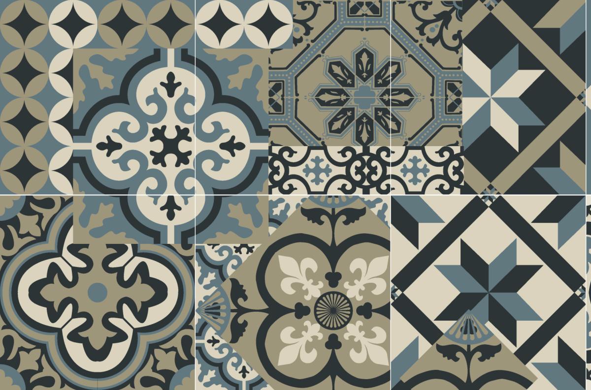 cr dence adh sive carreaux de ciment l on bleu oc an. Black Bedroom Furniture Sets. Home Design Ideas