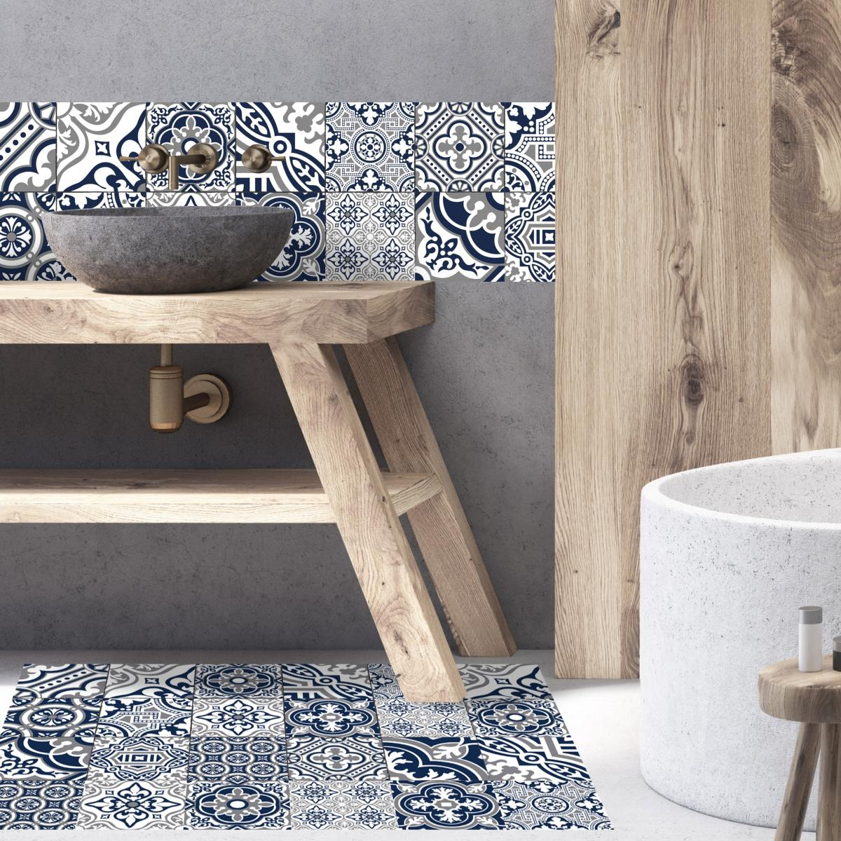 cr dence adh sive carreaux de ciment madeleine bleu. Black Bedroom Furniture Sets. Home Design Ideas