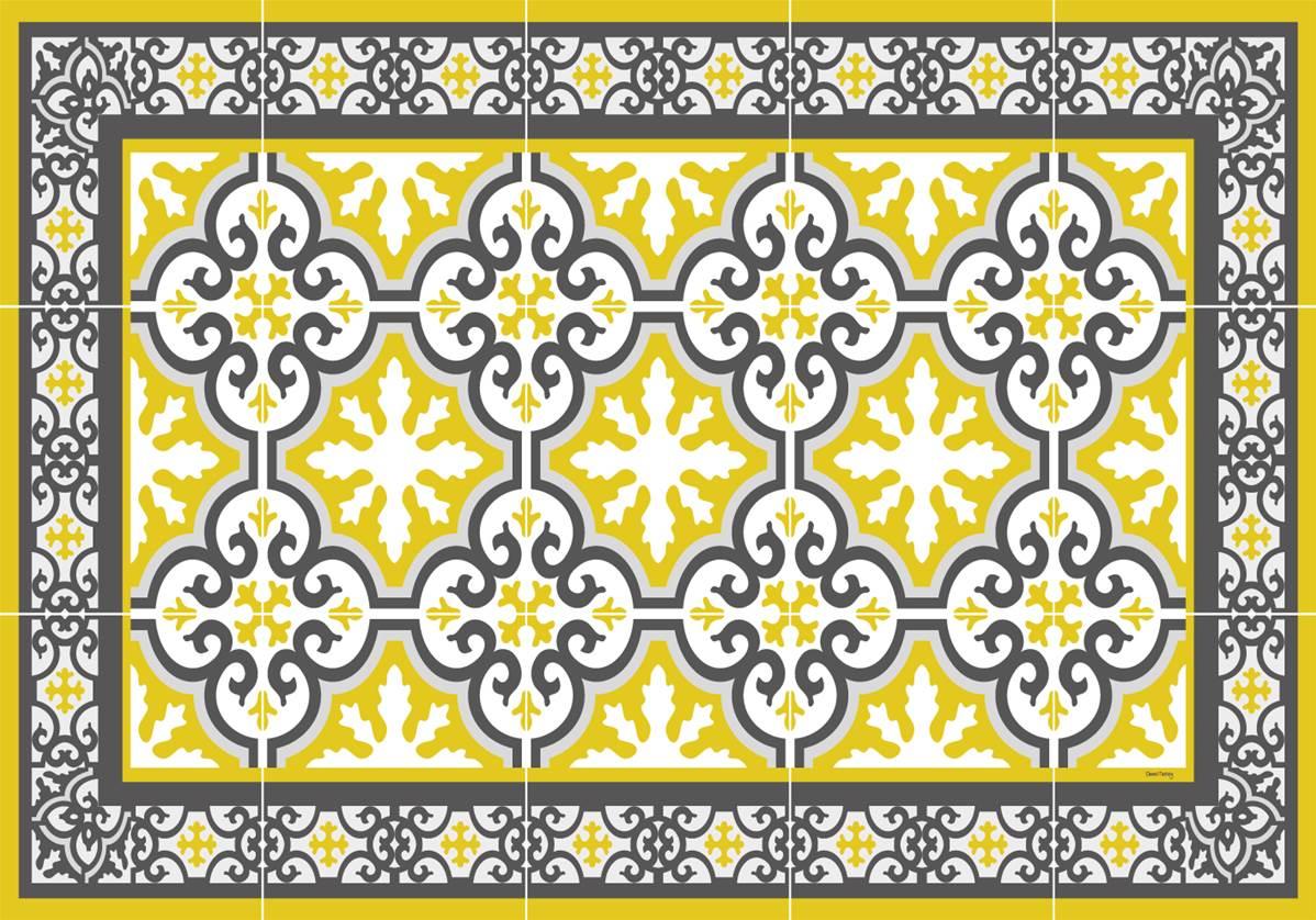 set de table carreaux de ciment simone jaune moutarde. Black Bedroom Furniture Sets. Home Design Ideas