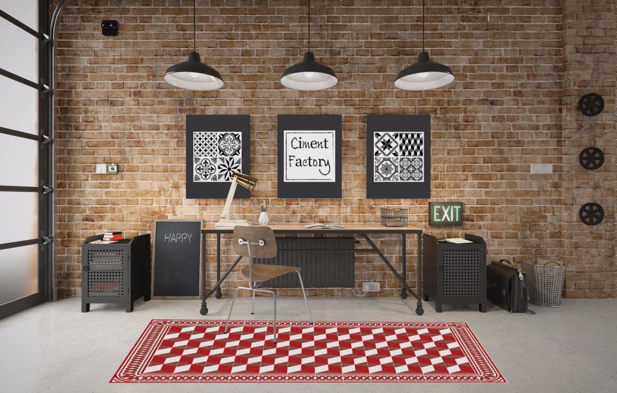 tapis vinyle carreaux de ciment eug nie rouge. Black Bedroom Furniture Sets. Home Design Ideas