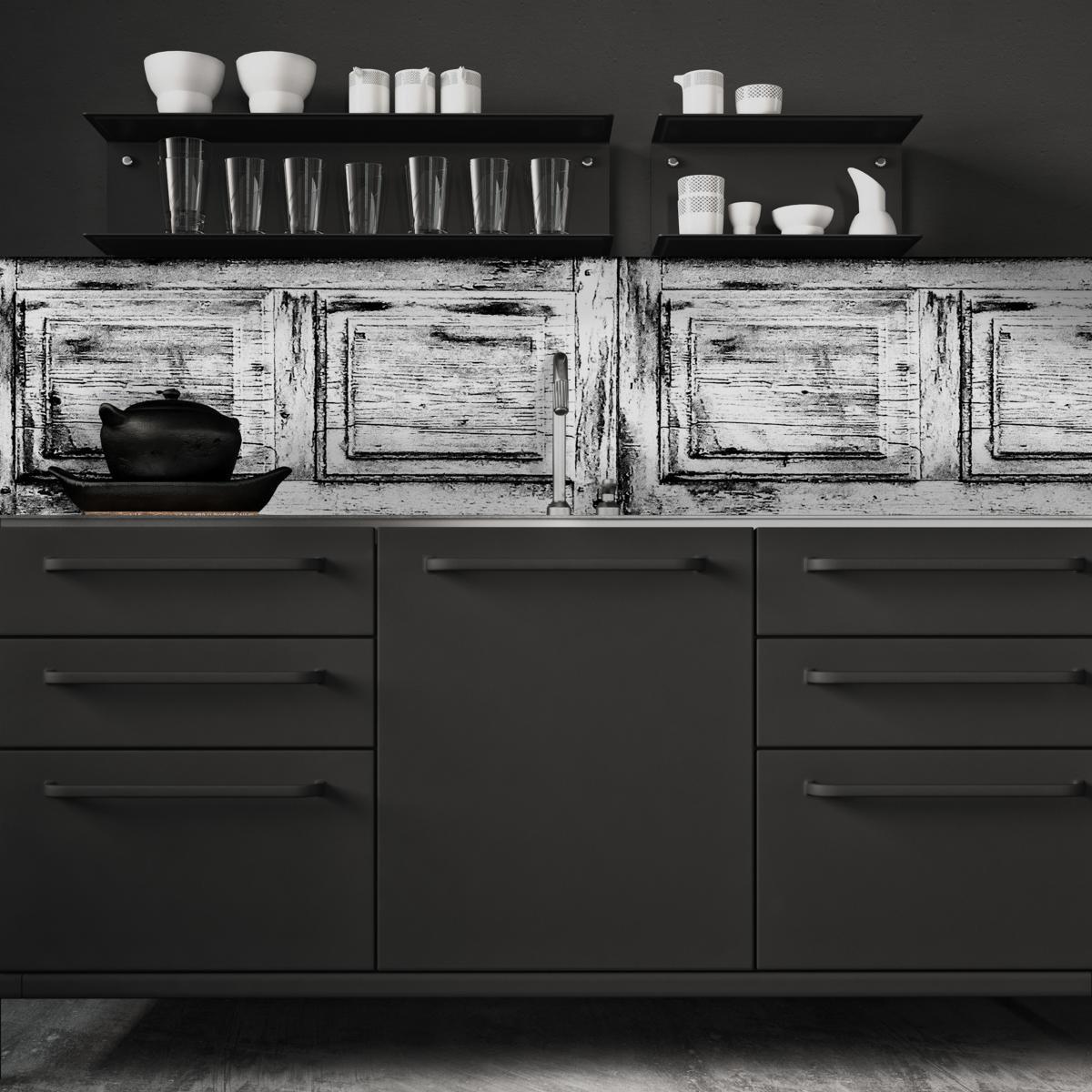 cr dence adh sive effet de mati re boiserie murale noir et blanc. Black Bedroom Furniture Sets. Home Design Ideas