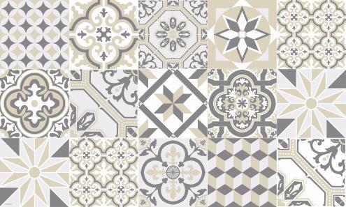 tapis vinyle carreaux de ciment ginette beige. Black Bedroom Furniture Sets. Home Design Ideas