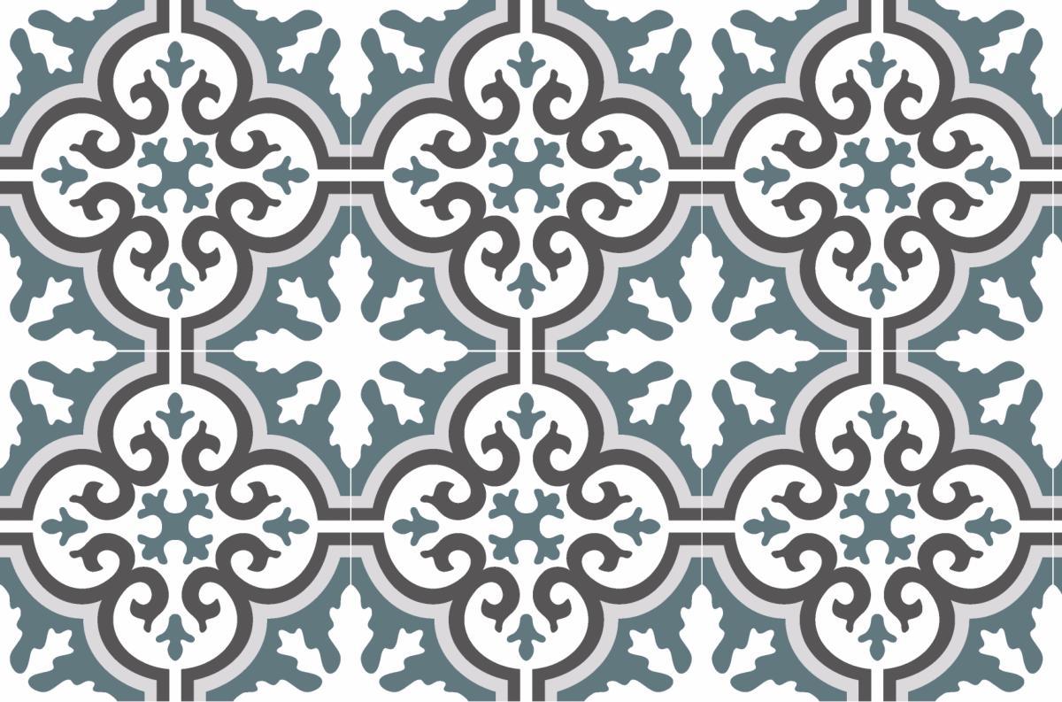 Cr dence adh sive carreaux de ciment simone bleu gris for Credence bleu turquoise