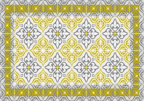 set de table carreaux de ciment jos phine jaune curry. Black Bedroom Furniture Sets. Home Design Ideas