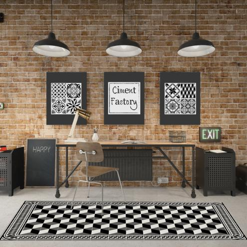 tapis vinyle imitation carreaux de ciment d co int rieure design tendance ciment factory. Black Bedroom Furniture Sets. Home Design Ideas