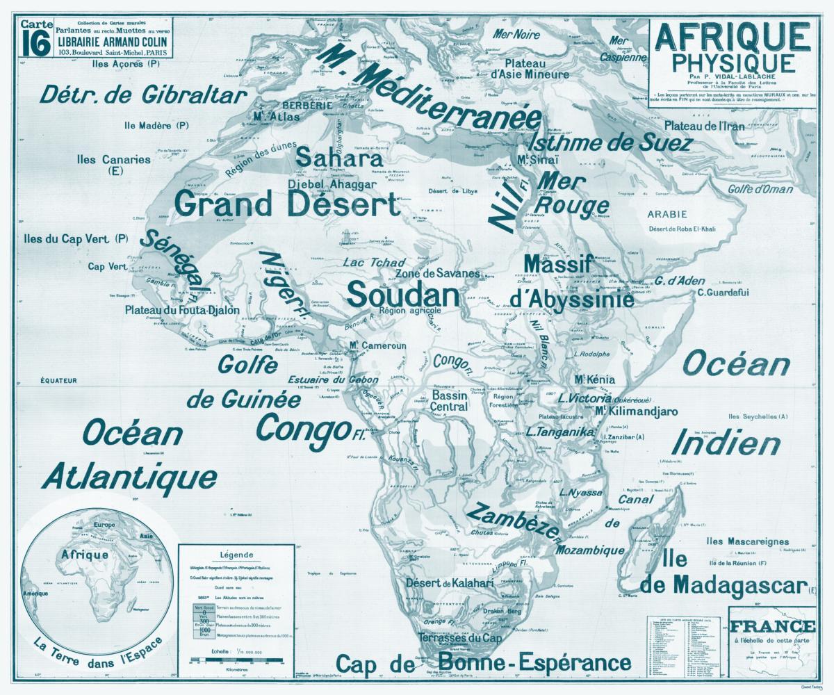 Carte de Set n°16 Scolaire Lablache Vidal Physique table Afrique cRj3A54Lq