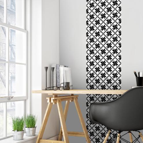 papier peint carreaux de ciment marguerite noir l. Black Bedroom Furniture Sets. Home Design Ideas