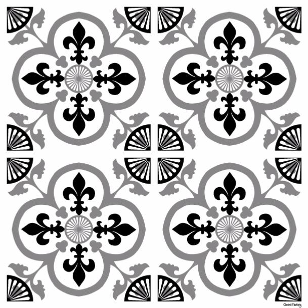 Sticker carreaux de ciment garance noir - Stickers carreaux de ciment ...