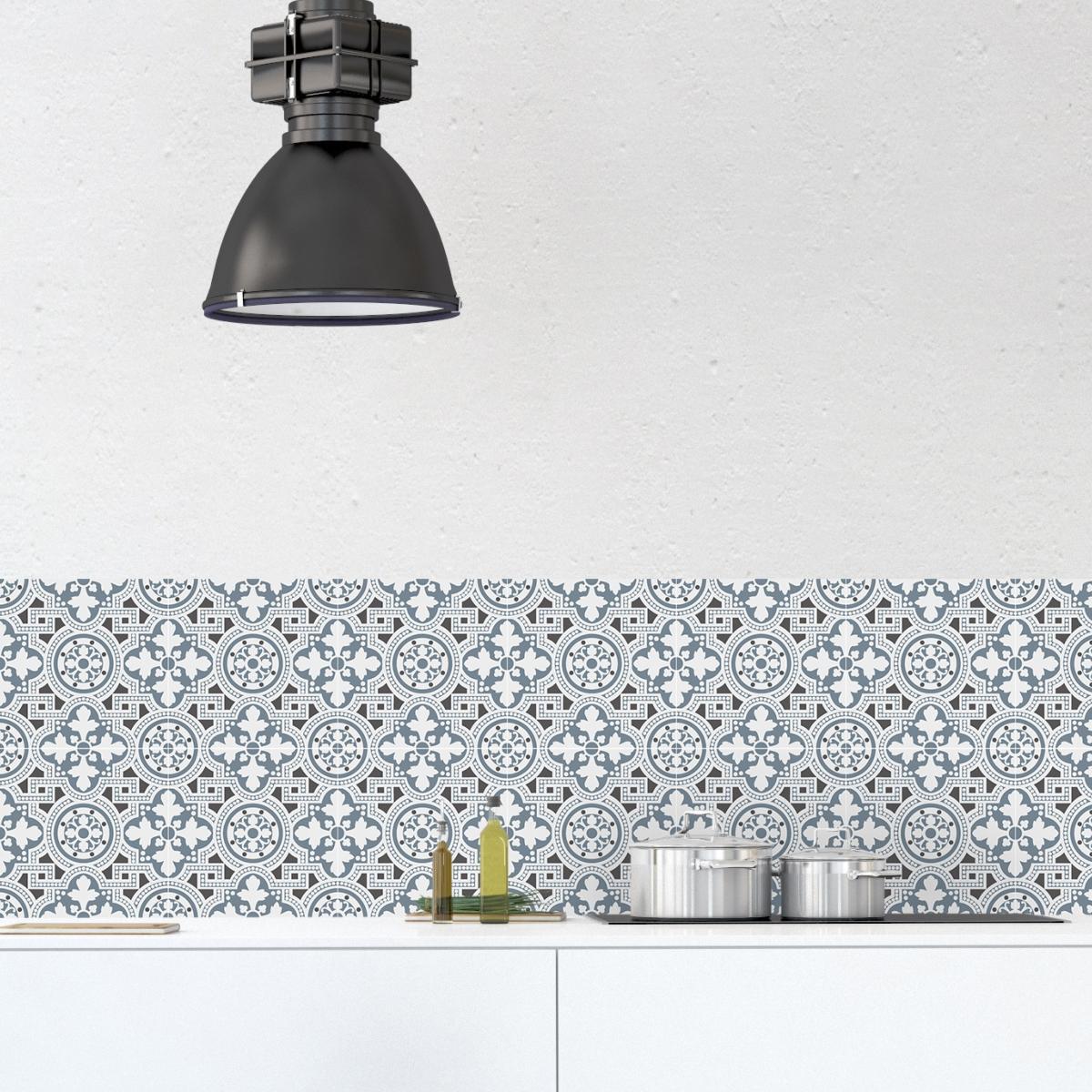 cr dence adh sive carreaux de ciment bertille bleu. Black Bedroom Furniture Sets. Home Design Ideas