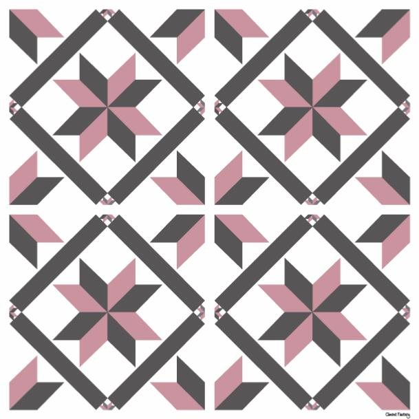 Sticker carreaux de ciment marguerite rose - Stickers carreaux de ciment ...