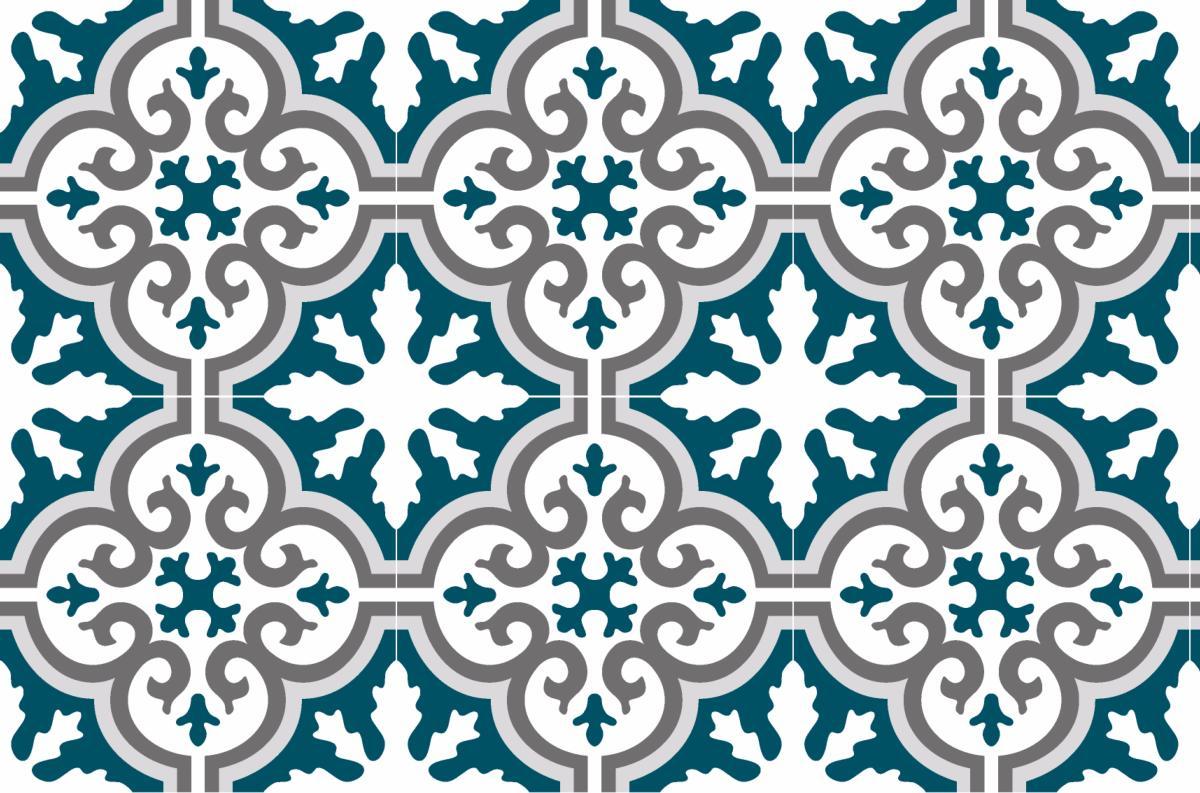 Cr dence adh sive carreaux de ciment simone bleu canard for Credence bleu canard