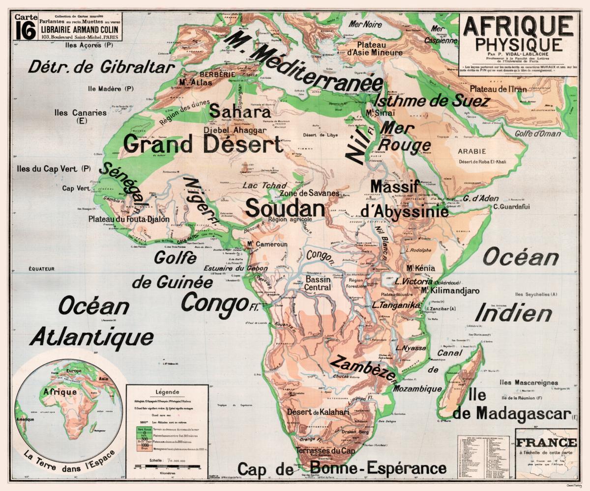 Carte Afrique Physique.Carte Scolaire Murale Vidal Lablache N 16 Afrique Physique Original