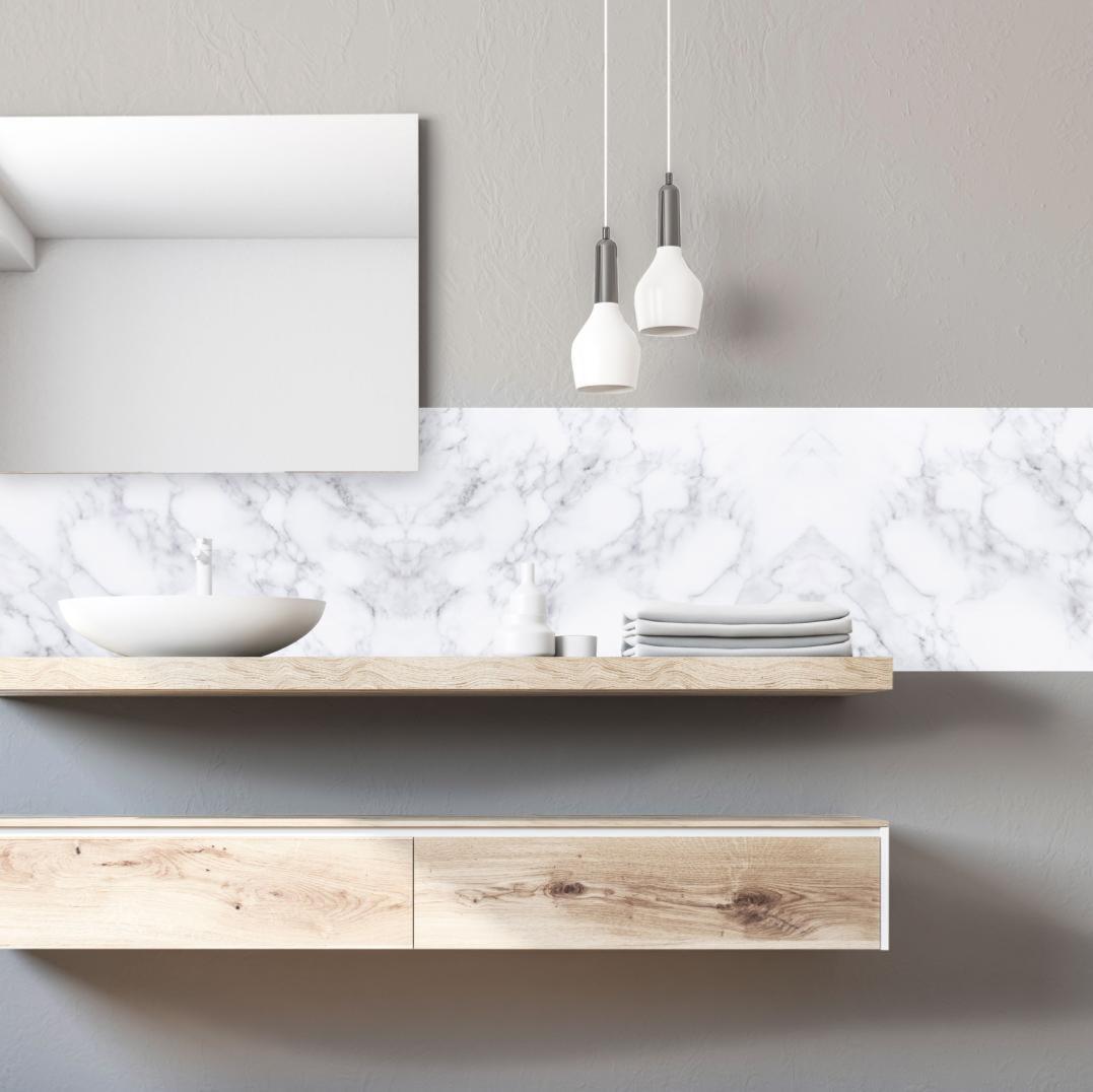 Credence Cuisine Marbre Blanc crédence adhésive effet de matière - marbre blanc