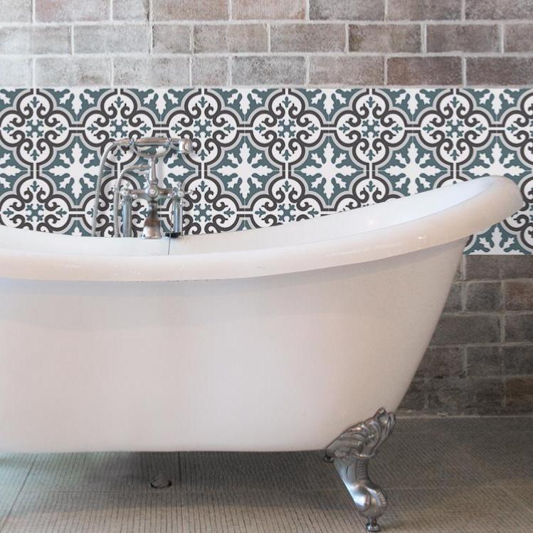 cr dence adh sive carreaux de ciment simone bleu gris. Black Bedroom Furniture Sets. Home Design Ideas