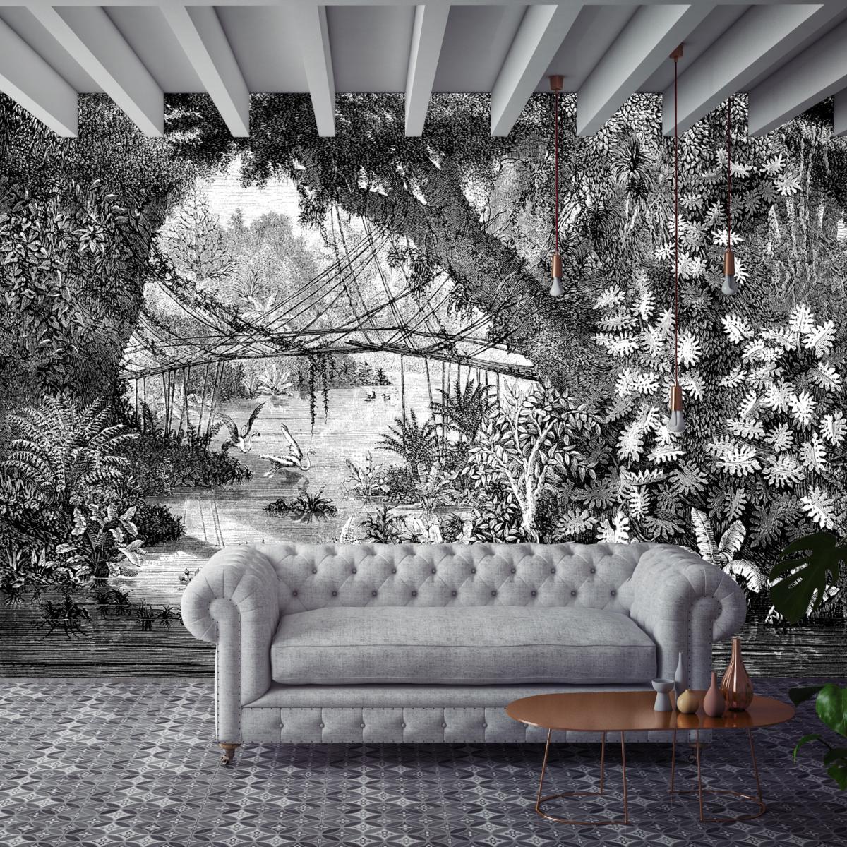 Papier Peint Noir Et Blanc Graphique papier peint panoramique gravure - jungle