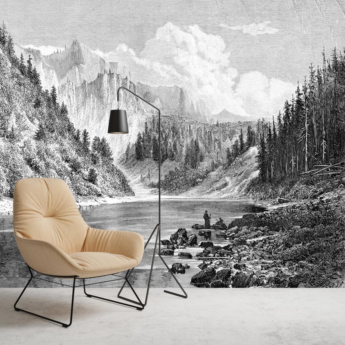 Papier Peint Panoramique Paysage papier peint panoramique gravure - montana