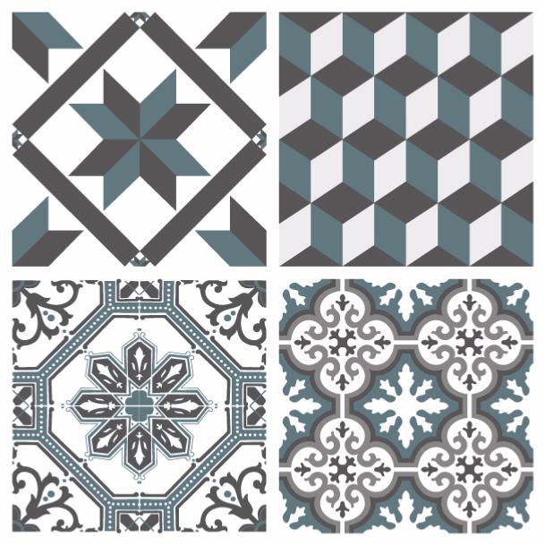sticker carreaux de ciment ginette bleu gris 10x10cm x8. Black Bedroom Furniture Sets. Home Design Ideas