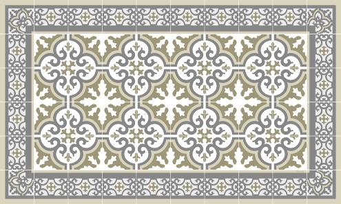 Tapis vinyle carreaux de ciment simone beige for Tapis vinyl carreaux ciment