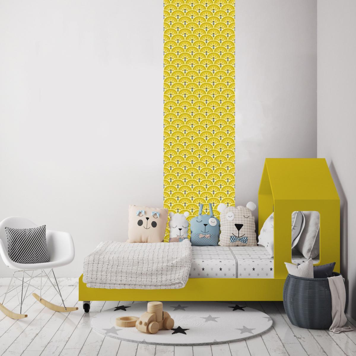 papier peint art d co jean jaune moutarde l unique. Black Bedroom Furniture Sets. Home Design Ideas