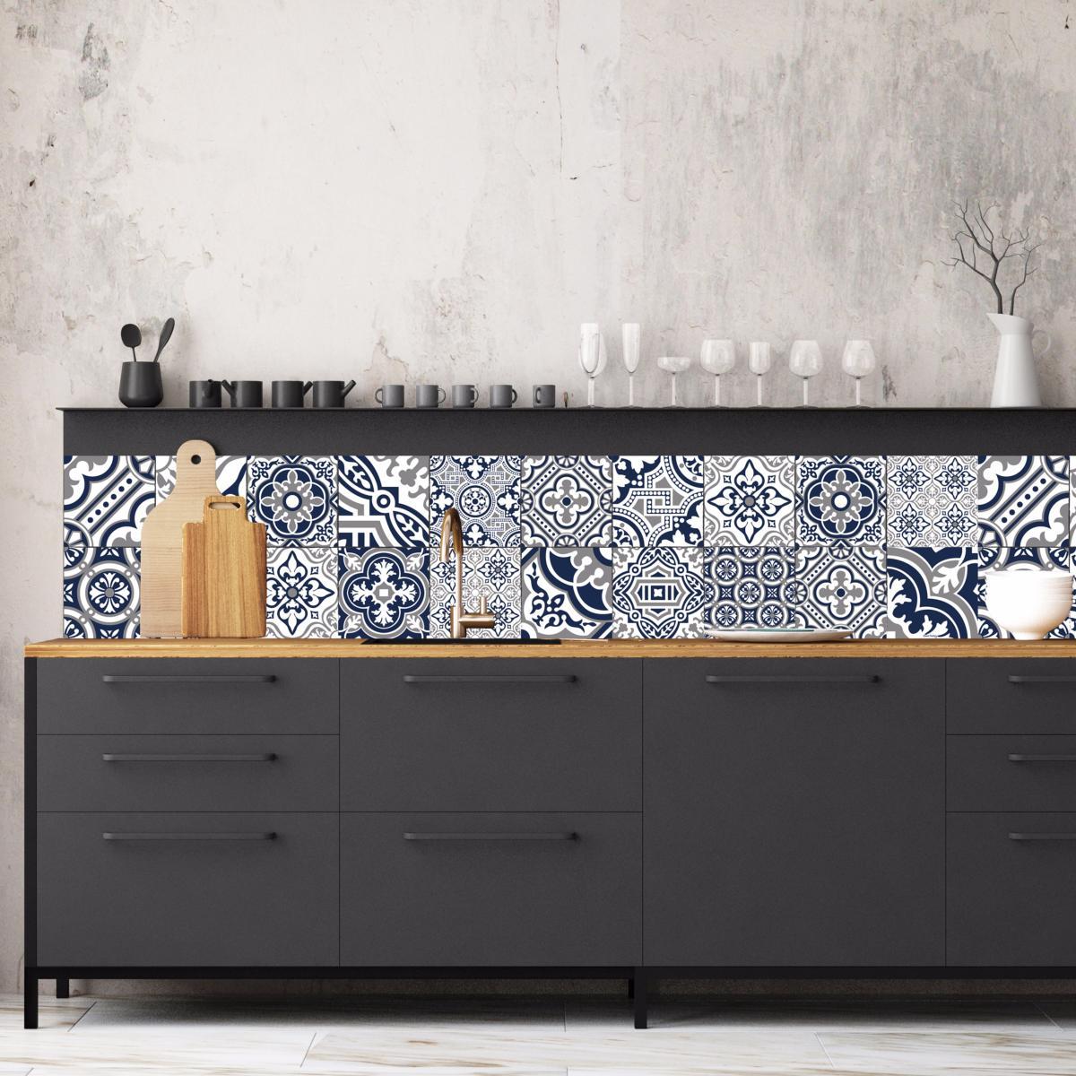 cr dence adh sive carreaux de ciment madeleine bleu nuit. Black Bedroom Furniture Sets. Home Design Ideas