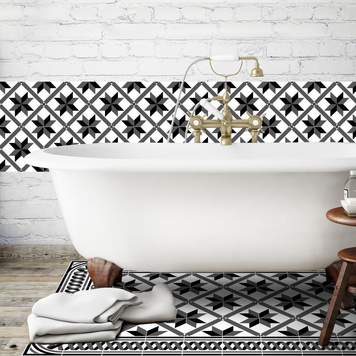 cr dence adh sive carreaux de ciment marguerite noir. Black Bedroom Furniture Sets. Home Design Ideas