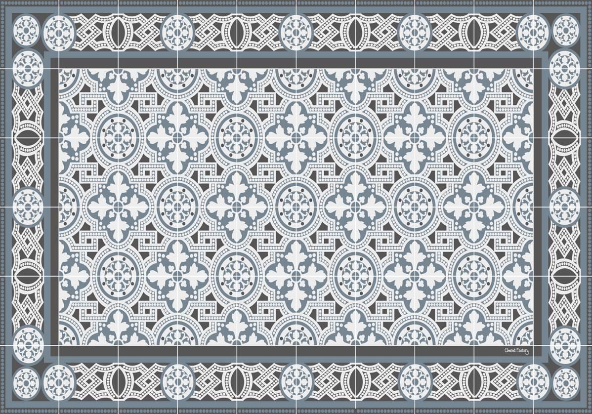 Set de table carreaux de ciment bertille bleu gris for Set de table imitation carreaux de ciment