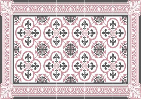 Set de table carreaux de ciment garance rose for Set de table imitation carreaux de ciment