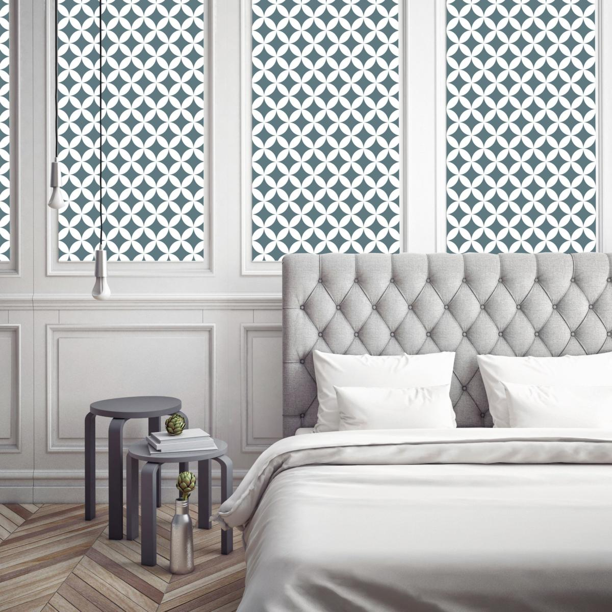 papier peint carreaux de ciment louison bleu gris l. Black Bedroom Furniture Sets. Home Design Ideas