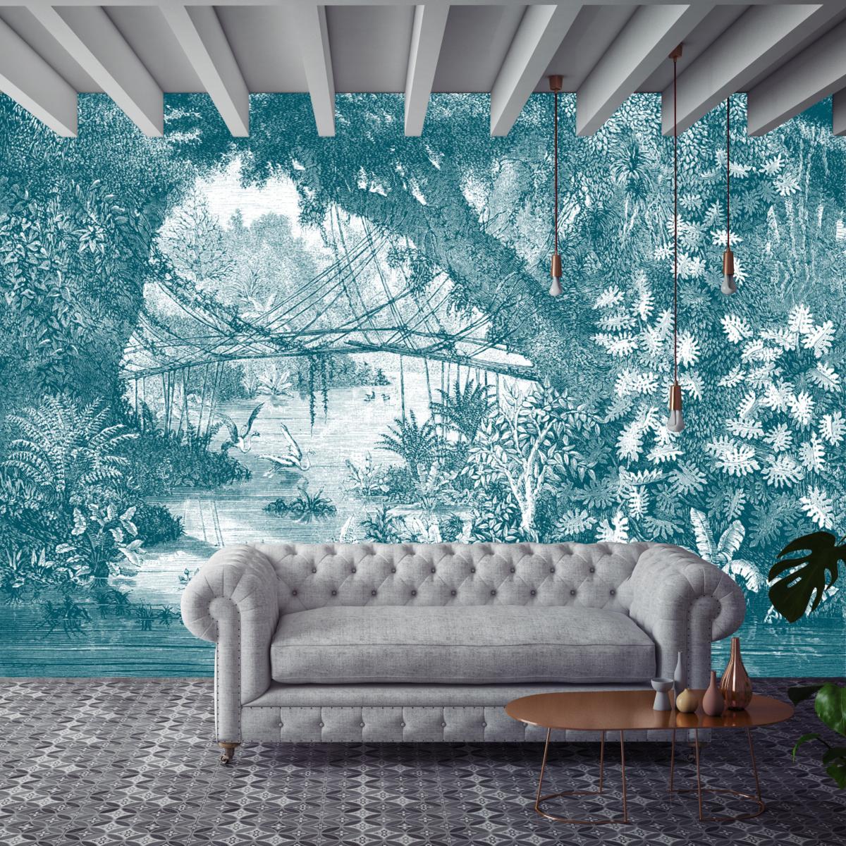 Papier Peint Panoramique Paysage papier peint panoramique gravure - jungle