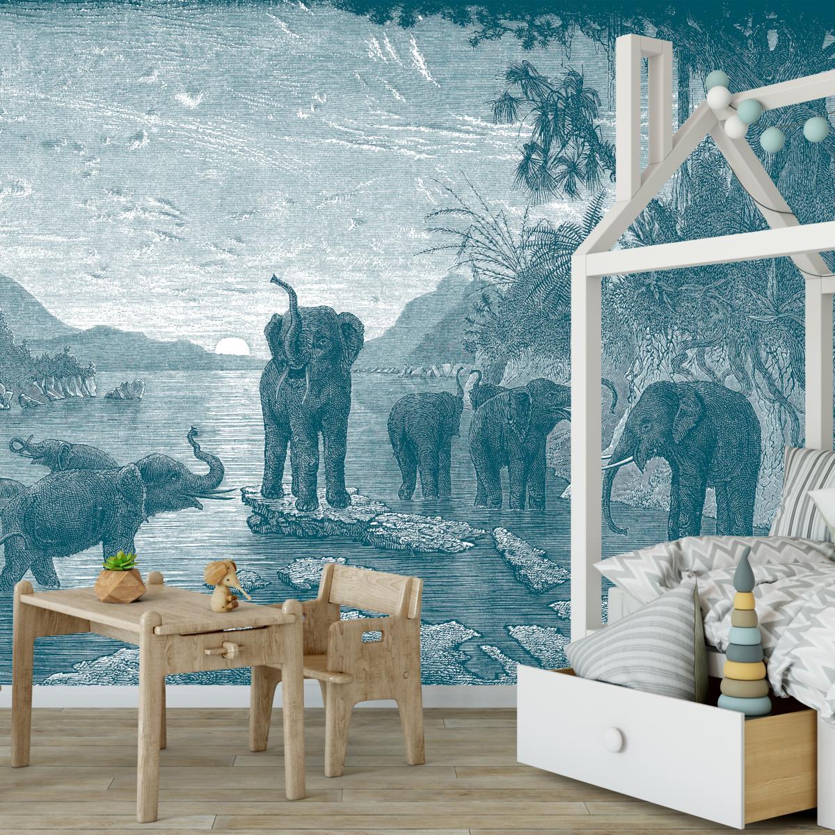 2 Papiers Peints Différents papier peint panoramique gravure - les eléphants