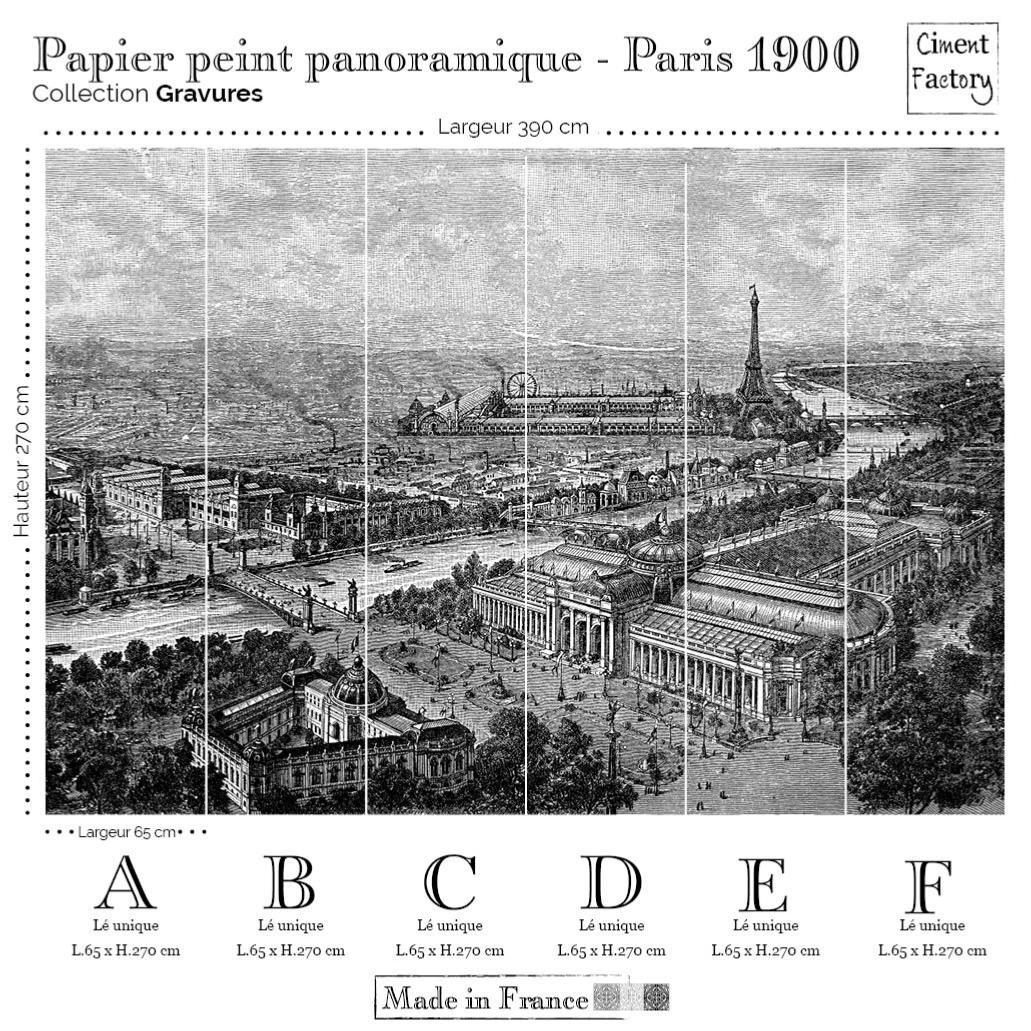 Papier Peint Panoramique Gravure Paris 1900 Noir