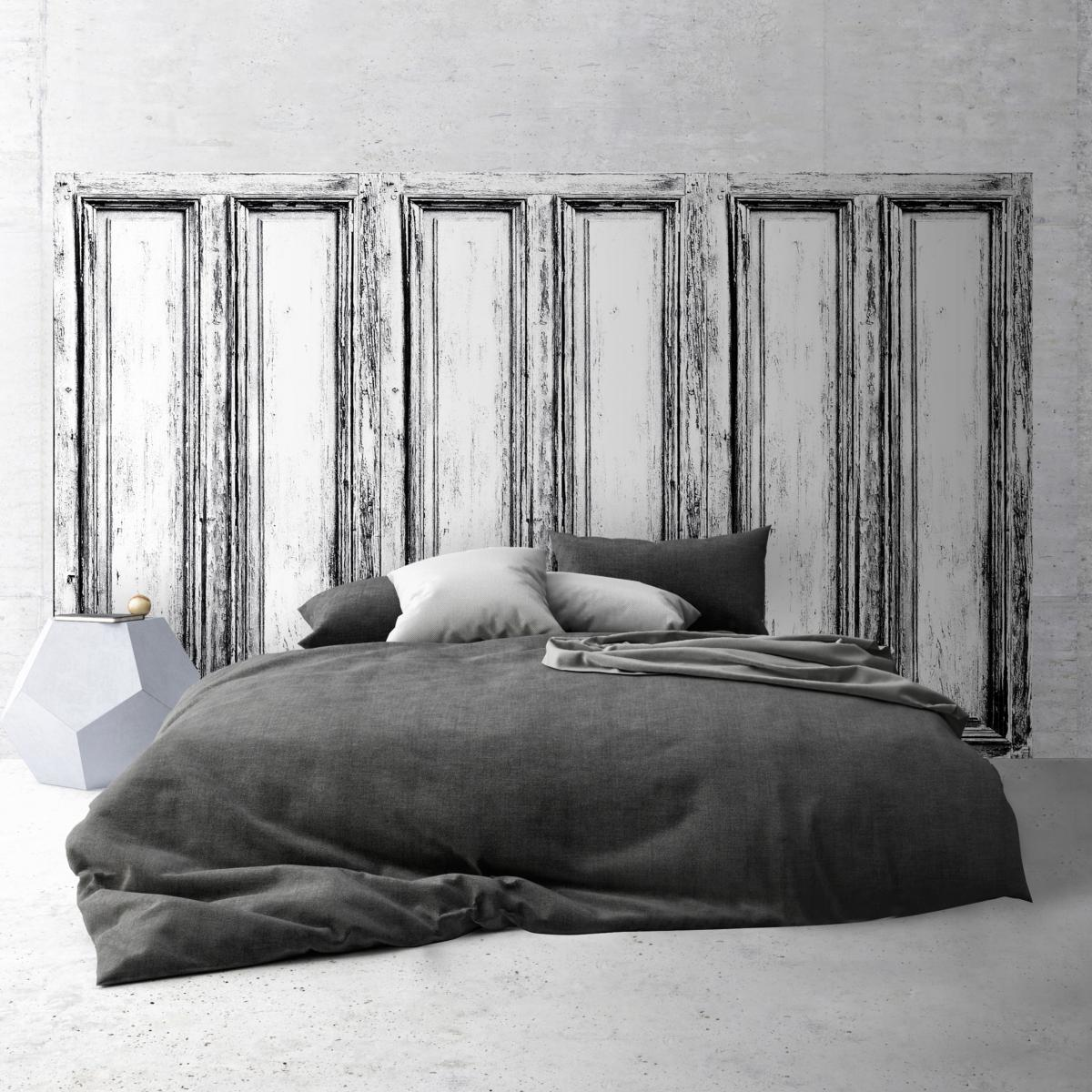 t te de lit effet de mati re panneau en bois noir et blanc. Black Bedroom Furniture Sets. Home Design Ideas
