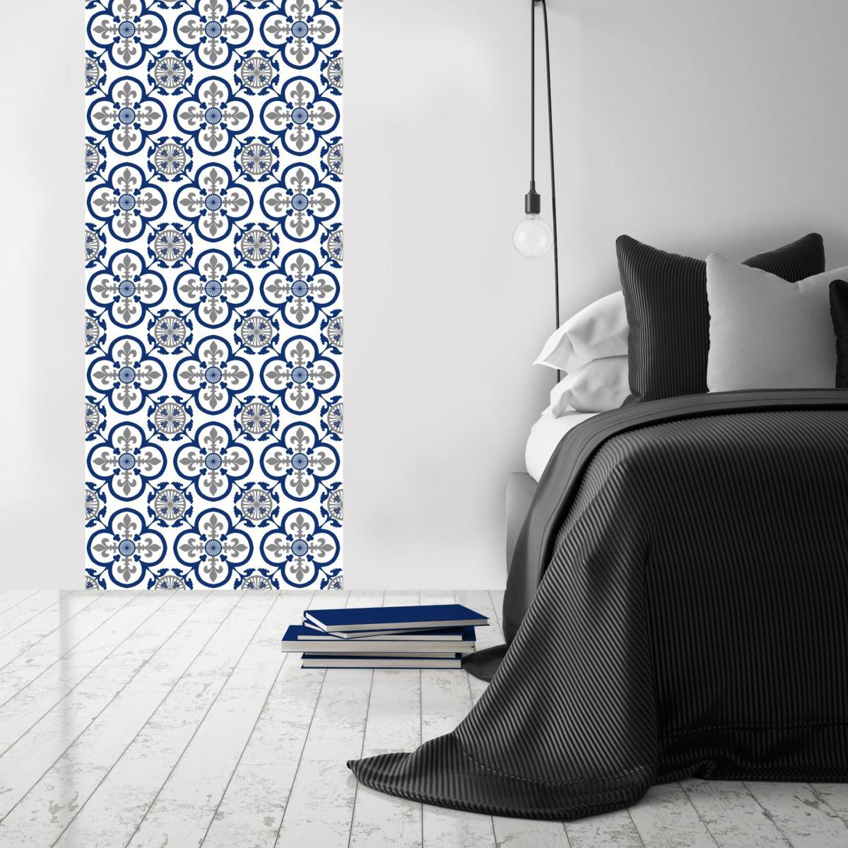 papier peint carreaux de ciment garance bleu l. Black Bedroom Furniture Sets. Home Design Ideas