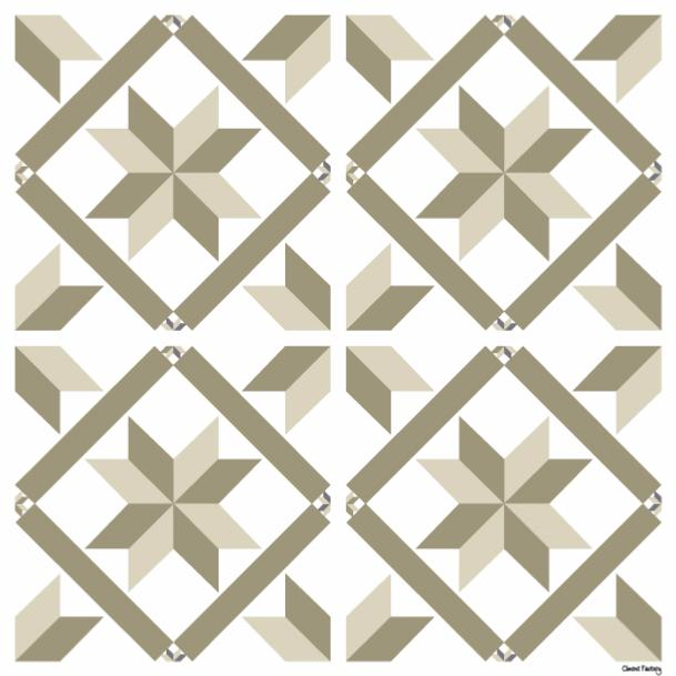 sticker carreaux de ciment marguerite beige. Black Bedroom Furniture Sets. Home Design Ideas