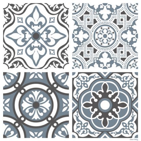 sticker carreaux de ciment madeleine bleu gris. Black Bedroom Furniture Sets. Home Design Ideas