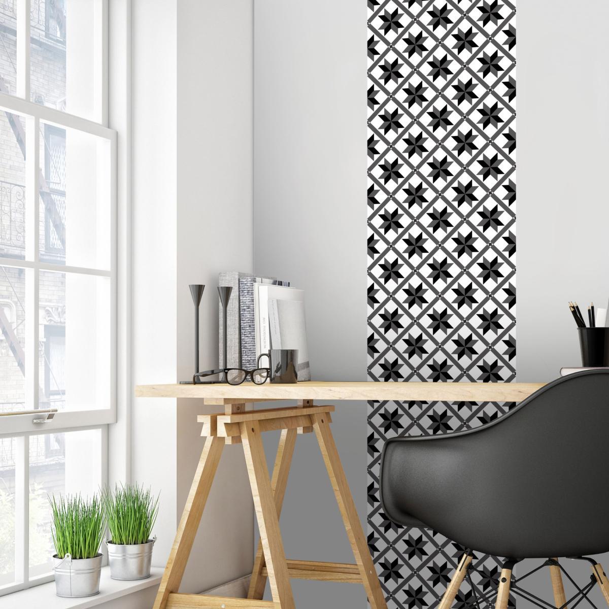 papier peint carreaux de ciment marguerite. Black Bedroom Furniture Sets. Home Design Ideas