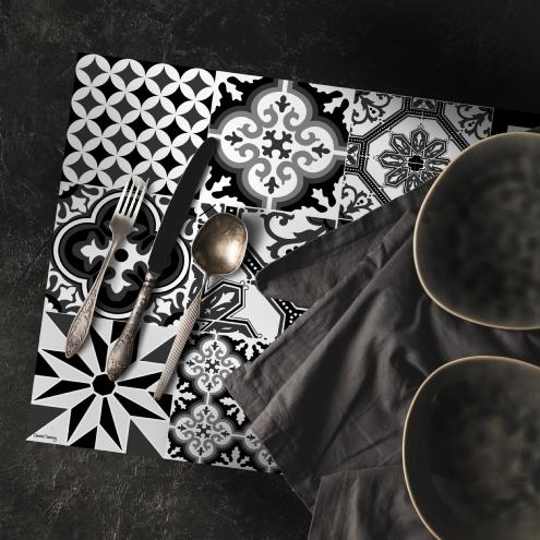 set de table carreaux de ciment ginette noir 35x50cm. Black Bedroom Furniture Sets. Home Design Ideas
