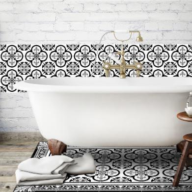 dalle adhesive carreau de ciment carreaux de ciment revtements de sol imitation carreaux de. Black Bedroom Furniture Sets. Home Design Ideas