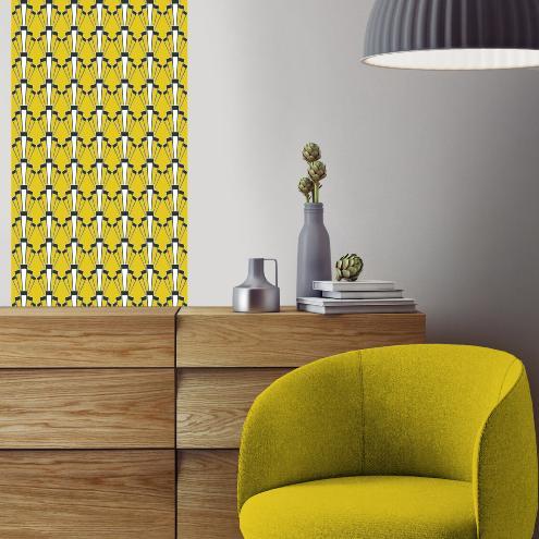papier peint art d co georges jaune moutarde l unique de 50x250cm vinyle adh sif. Black Bedroom Furniture Sets. Home Design Ideas