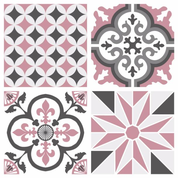 Sticker carreaux de ciment ginette rose - Stickers carreaux de ciment ...